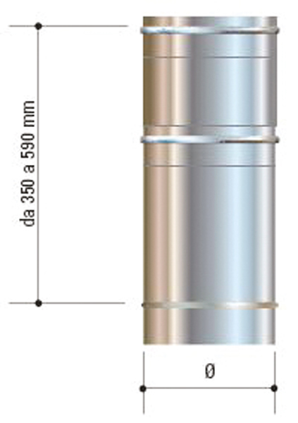 Canna fumaria telescopica in acciaio inox aisi 316l da for Canna fumaria inox bricoman