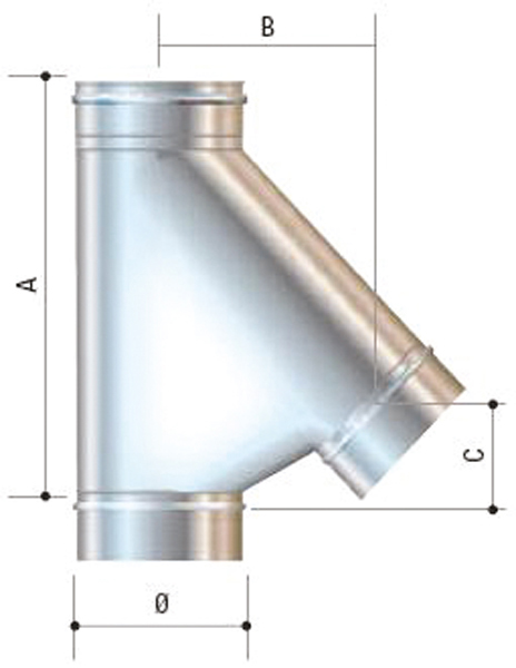 Raccordo a braga 135 in acciaio inox aisi 316l da 250 for Raccordo in acciaio verticale